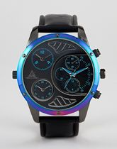 ASOS DESIGN Oversized Watch With Iridescent Finish And