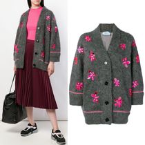 PR1464 MOHAIR BLEND OVERSIZED CARDIGAN WITH APPLIQUE