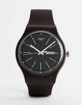 Swatch SUOC704 Blue Browny Watch In Brown
