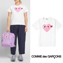 Comme des Garcons Play Double Heart Logo Tee White&Pink