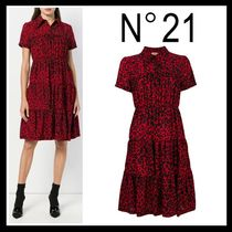 18-19AW 新作☆N°21(ヌメロ)レオパード シャツ ワンピース Red