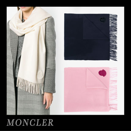 18-19AW☆MONCLER☆ロゴパッチ フリンジ ウールスカーフ