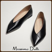 MassimoDutti♪BLACK LEATHER BALLERINAS