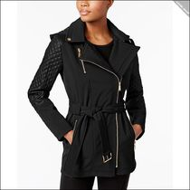 【Michael Kors】Asymmetrical Quilted-Sleeve Belted Raincoat