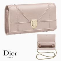Dior◆DIORAMA◆Croisiere カーフスキン チェーン 長財布 ピンク