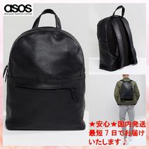 【ASOS】バックパックleather backpack in black with front zip