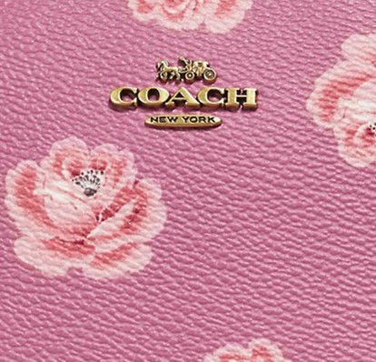 Coach メイクポーチ ★セール★ COACH Cosmetic Case 17 With Rose Print(2)