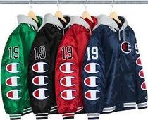 ★Supreme/Champion Hooded Satin Varsity Jacket★Week 7