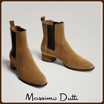 MassimoDutti♪TAN SPLIT SUEDE LEATHER STRETCH ANKLE BOOTS