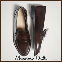 MassimoDutti♪BURGUNDY ANTIK LEATHER LOAFERS