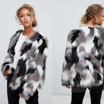 【New Look】Tonal Faux Fur Collarless Coat