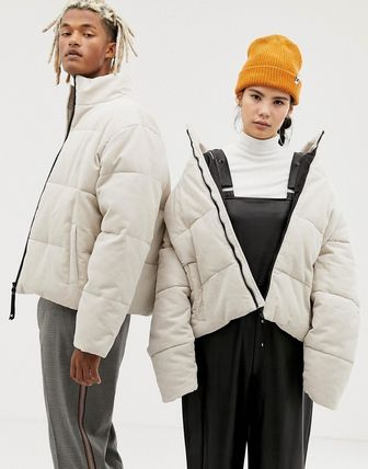 COLLUSION Unisex cord puffer jacket