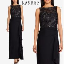 セール!Lauren Ralph Lauren★Ruffled Embroidered Gown