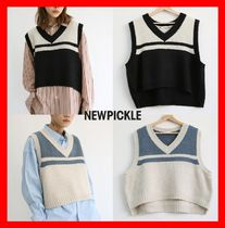 人気☆【NEWPICKLE】☆Well V Neck Crop Knit☆2色☆UNISEX☆