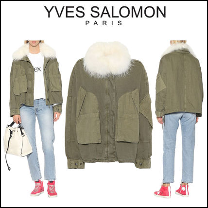 YVES SALOMON Army(Aイヴサロモン)★Fur-trimmed cotton jacket