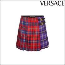 VERSACE(ヴェルサーチ)★Plaid Wool Skirt with Leather Buckles