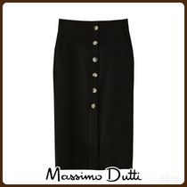 MassimoDutti♪COTTON PENCIL SKIRT WITH BUTTONS