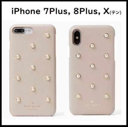 Kate Spade◆iPhone Plus, X 7P/8P 可愛いパール pearl applique