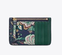 Tory Burch FLORAL TOP-ZIP CARD CASE