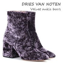 関税込【Dries Van Noten】Velvet ankle boots/Purple
