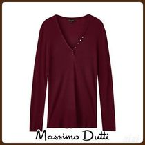 MassimoDutti♪RIBBED T-SHIRT WITH BUTTONS