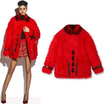 18-19AW TF077 LAMB LEATHER TRIMMED SHEEP FUR COAT