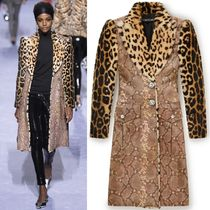 18-19AW TF079 LOOK9 FUR & LEATHER COAT WITH JEWELED BUTTON