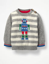 【Boden】ロボット x ボーダー袖のグレーセーター 18m-4y