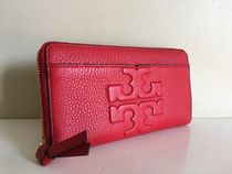 TORY BURCH  BOMBE T ZIP CONTINENTAL WALLET  リバティーレッド