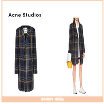 【Acne】 Checked wool-blend coat