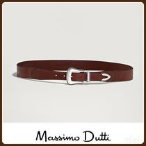 MassimoDutti♪LEATHER BELT WITH METAL BUCKLE