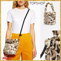 ★TOPSHOP★ヒョウプリントフェイクファーバケットバッグ