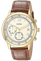 GUESS Men's Quartz Stainless Steel and Leather Casual Watc