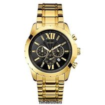 ゲス GUESS Men's U0193G1 Gold-Tone Chrongraph Watch with Dat
