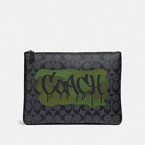 ☆COACH☆LARGE POUCH IN SIGNATURE CANVAS WITH GRAFFITI