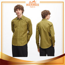 18-19AW【 HERMES 】Chemise ajustee avec nervure H chartreuse