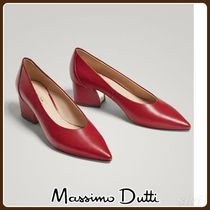 MassimoDutti♪RED LEATHER COURT SHOES