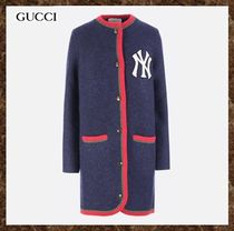 GUCCI(グッチ)New York Yankees patch wool and alpaca cardigan