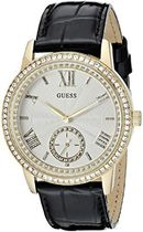 ゲス GUESS Women's U0642L2 Elegant Black & Gold-Tome Wat