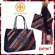 セール新作 Tory Burch A4サイズ収納OK Ella Fabric Stripe Tote