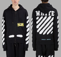 即発送 OFF WHITE SPRAY DIAGONALS ZIP HOODIE PARKA