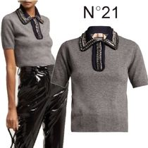 【18AW★RUNWAY】★N21★Crystal-embellished polo sweater