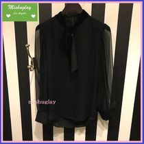 【kate spade】嬉しい復刻★上品♪mixed velvet chiffon top★