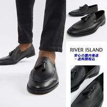 River Island leather loafers with tassel's in black♪