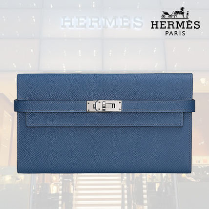 【18AW】HERMES Portefeuille Kelly classique verso ブルー
