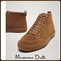 MassimoDutti♪TAN SPLIT SUEDE HIGH-TOP TRAINERS