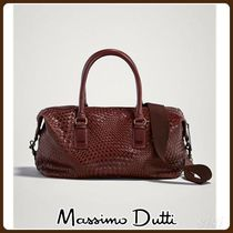 MassimoDutti♪PLAITED LEATHER BOWLING BAG