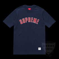 FW18 SUPREME PRINTED ARC S/S TOP NAVY 紺 S-XL 送料無料
