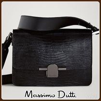 MassimoDutti♪LEATHER CROSSBODY BAG WITH METAL CLASP