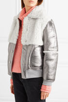 See by Chloe Metallic leather and shearling ジャケット 新作